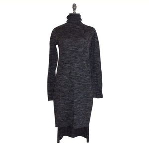 Zara Knit Gray High Low Funnel Neck Tunic Sweater